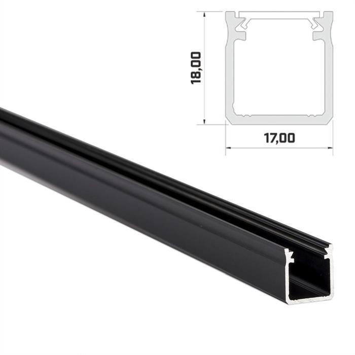 LED Aluminium Profil 1m extra hoch 17x18mm für LED Streifen ; Schwarz
