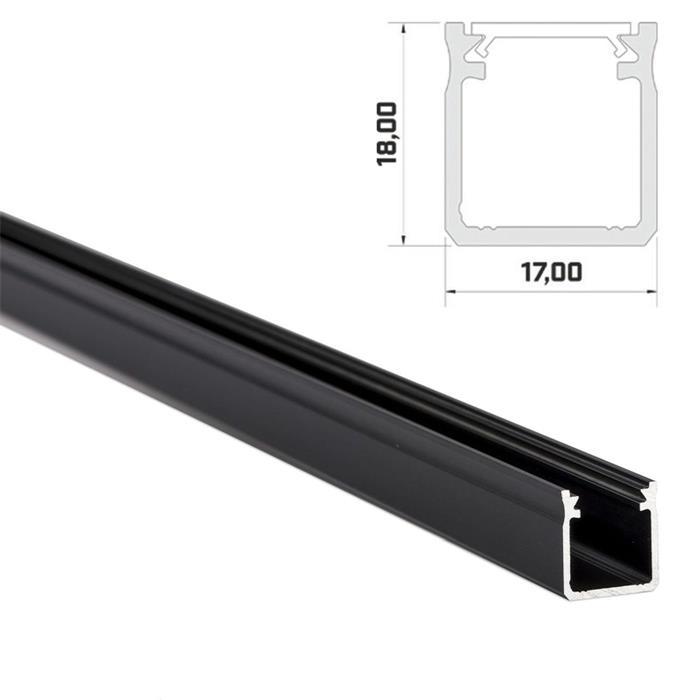 1m LED Profil Y Schwarz 17x18mm Aluminium Aufbauprofil für 12mm LED Streifen