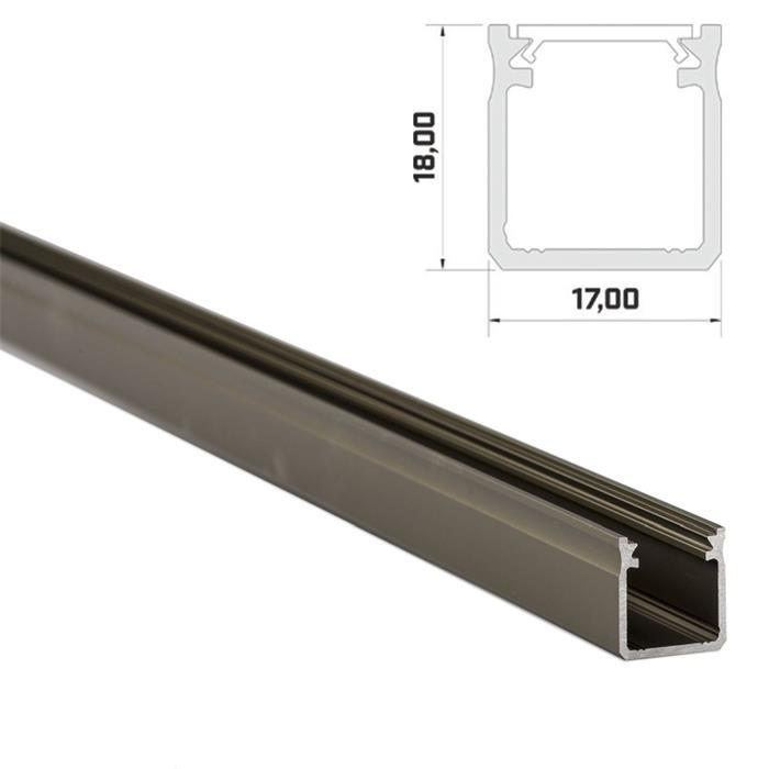 1m LED Profil Y Inox 17x18mm Aluminium Aufbauprofil für 12mm LED Streifen