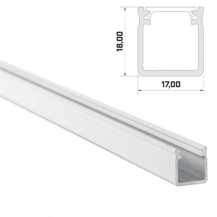 1m LED Profil Y Weiß 17x18mm Aluminium Aufbauprofil für 12mm LED Streifen