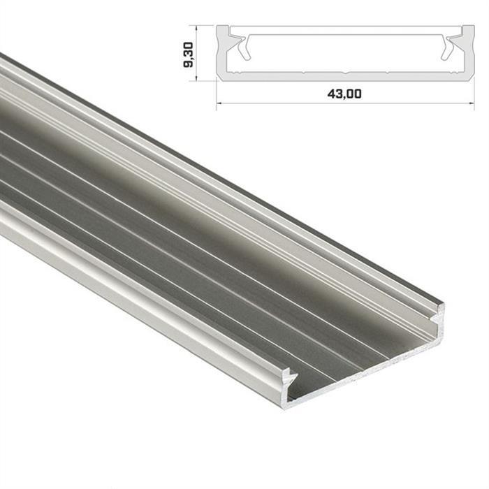 LED Aluminium Profil 1m extra breit 43x9mm Schiene für LED Streifen ; Silber