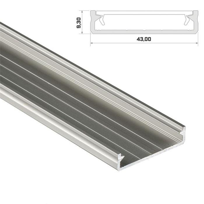 1m LED Profil Solis Silber 43x9mm Aluminium Aufbauprofil für 38mm LED Streifen