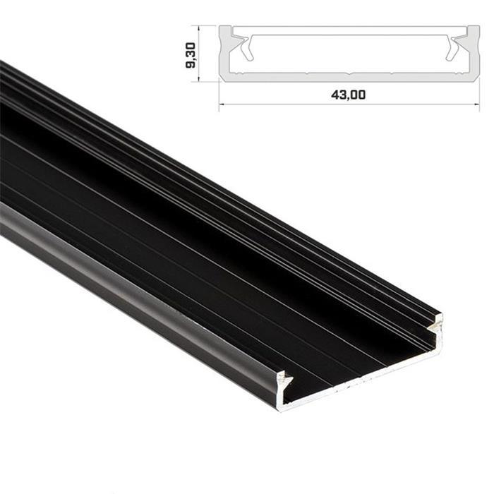 1m LED Profil Solis Schwarz 43x9mm Aluminium Aufbauprofil für 38mm LED Streifen