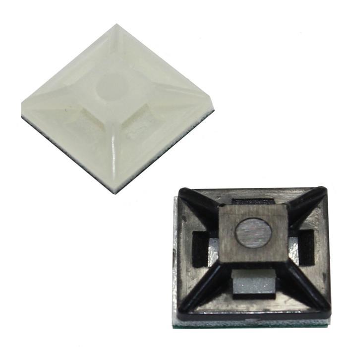 100x Klebesockel für Kabelbinder 12,5x12,5mm selbstklebend