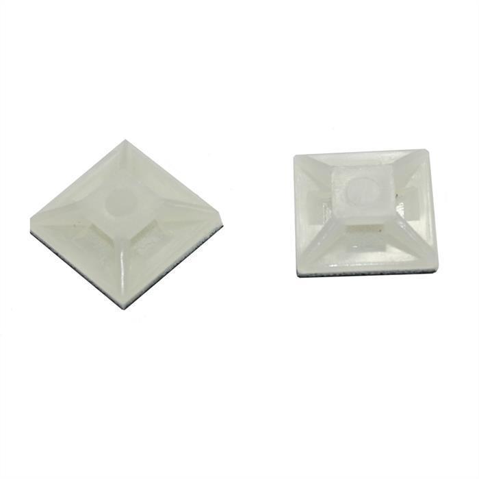 100x Klebesockel für Kabelbinder 12,5x12,5mm selbstklebend ; natur