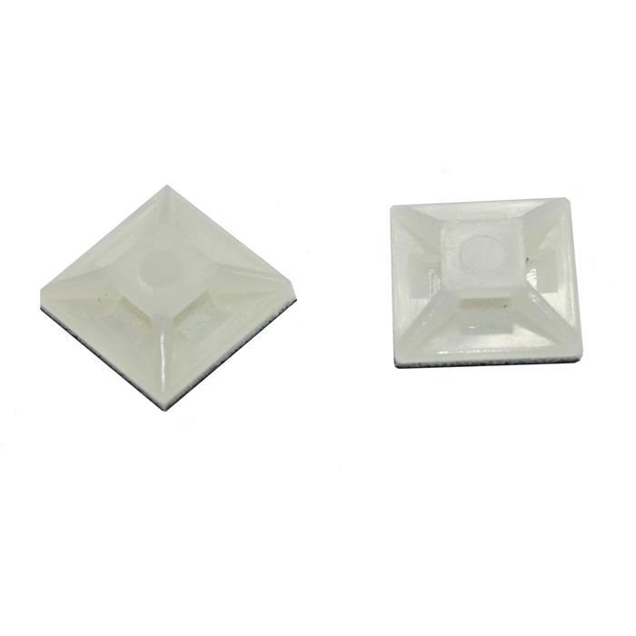 100x Klebesockel für Kabelbinder 12,5x12,5mm Weiß natur Selbstklebend