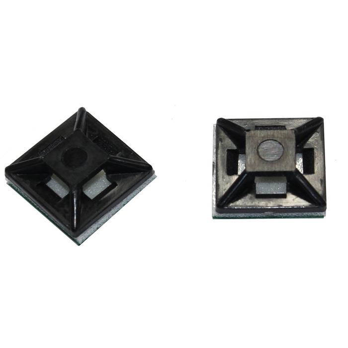100x Klebesockel für Kabelbinder 12,5x12,5mm schwarz Selbstklebend
