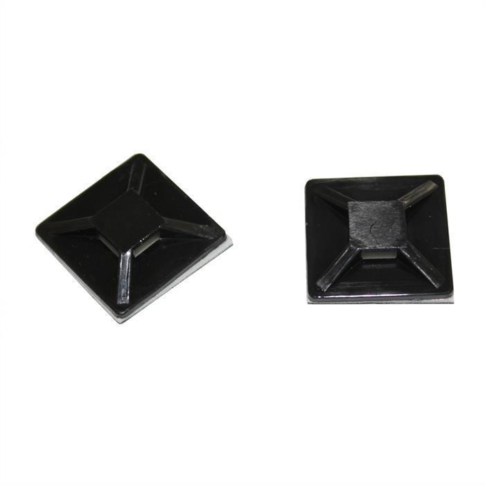 100x Klebesockel für Kabelbinder 20x20mm selbstklebend ; Schwarz
