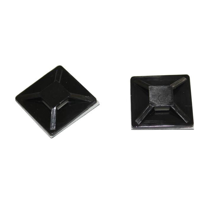 100x Klebesockel für Kabelbinder 20x20mm schwarz Selbstklebend