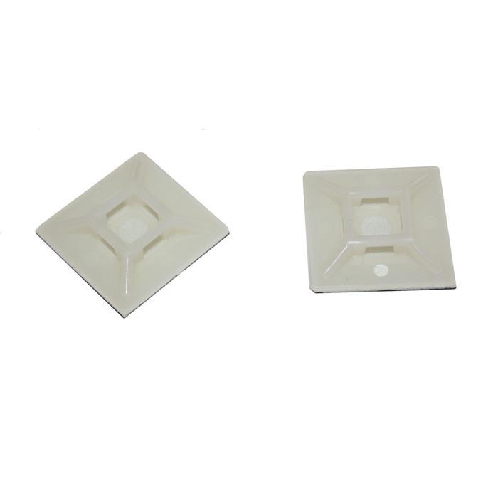 100x Klebesockel für Kabelbinder 28x28mm Weiß natur Selbstklebend