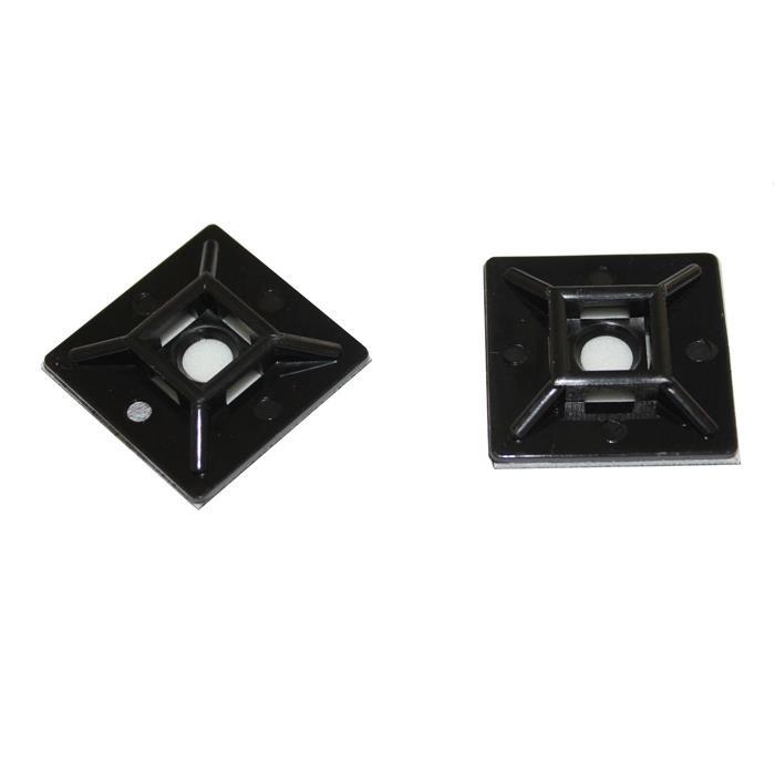 100x Klebesockel für Kabelbinder 28x28mm schwarz Selbstklebend