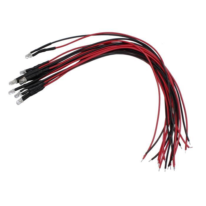 Superhelle LEDs 3mm für 5V ; 20cm Kabel ; Rot