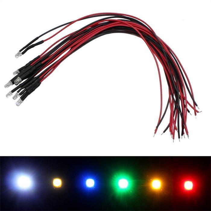 Superhelle LEDs 3mm für 12V ; 20cm Kabel ; Rot