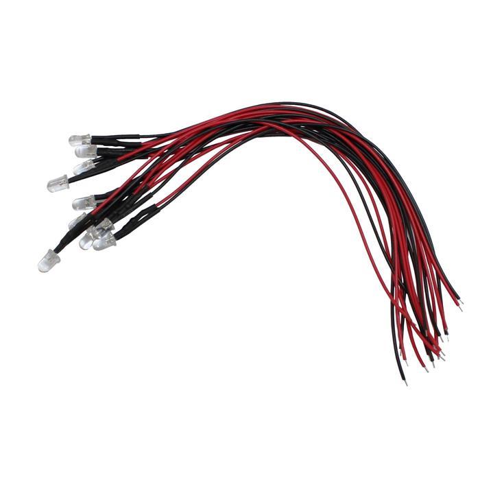 Superhelle LEDs 5mm für 5V ; 20cm Kabel ; Blau