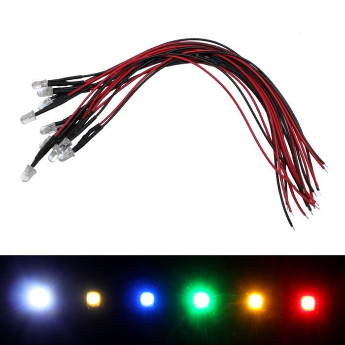 Superbright LEDs 5mm for 12V ; 20cm cable ; Pure-White 6000K