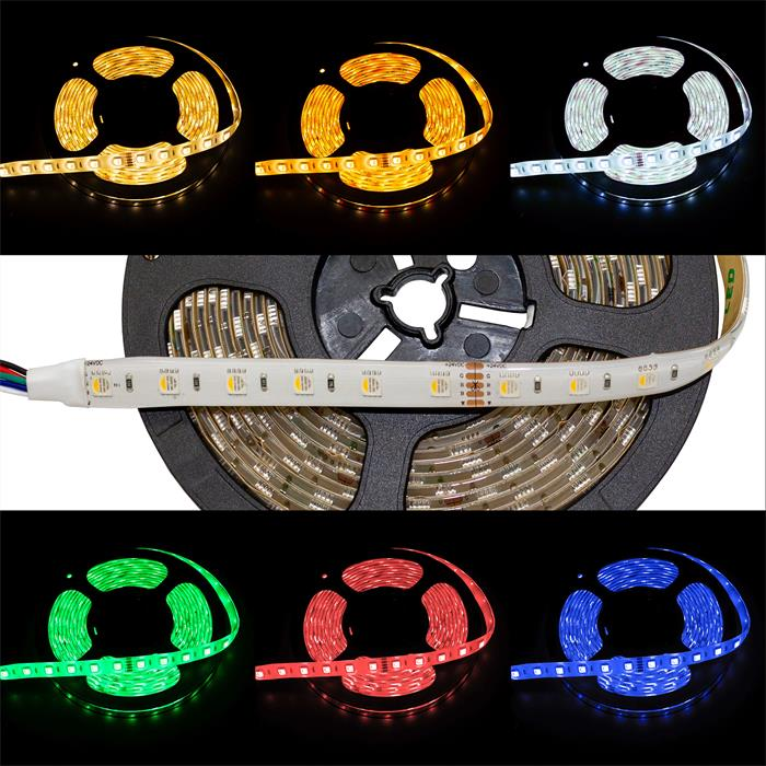 RGBW RGB+W 3000K LED Streifen Band Leiste 4in1 Chip 5m ; 24V IP65 300LEDs