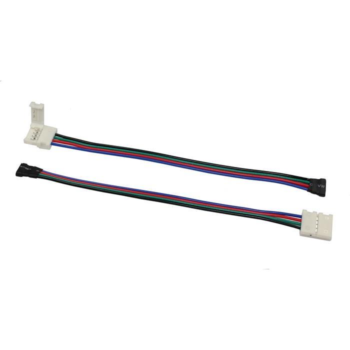 Verbinder für RGB LED-Streifen 10mm Clip-Kabel-Buchse ; Gesamtlänge ca. 17cm