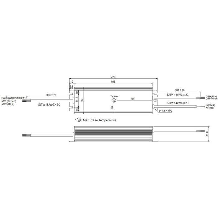 LED Netzteil 120W 12V 10A ; MeanWell HLG-120H-12B ; dimmbar 1-10V PWM