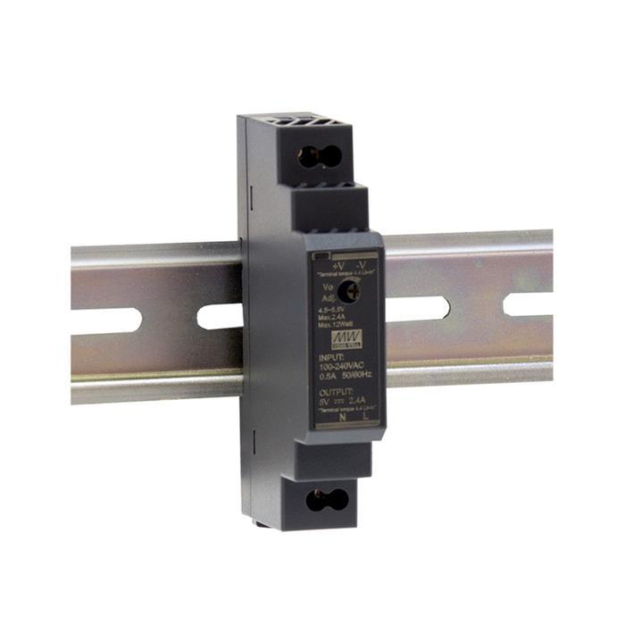 Hutschienen Netzteil 12W 5V 2,4A ; MeanWell HDR-15-5 ; DIN-Rail Trafo