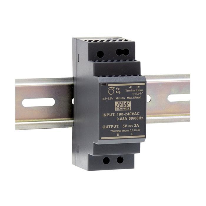 Hutschienen Netzteil 30W 15V 2A ; MeanWell HDR-30-15 ; DIN-Rail Trafo