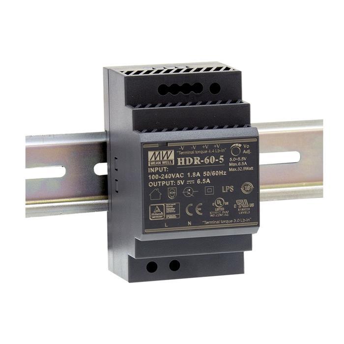 Hutschienen Netzteil 32W 5V 6,5A ; MeanWell HDR-60-5 ; DIN-Rail Trafo