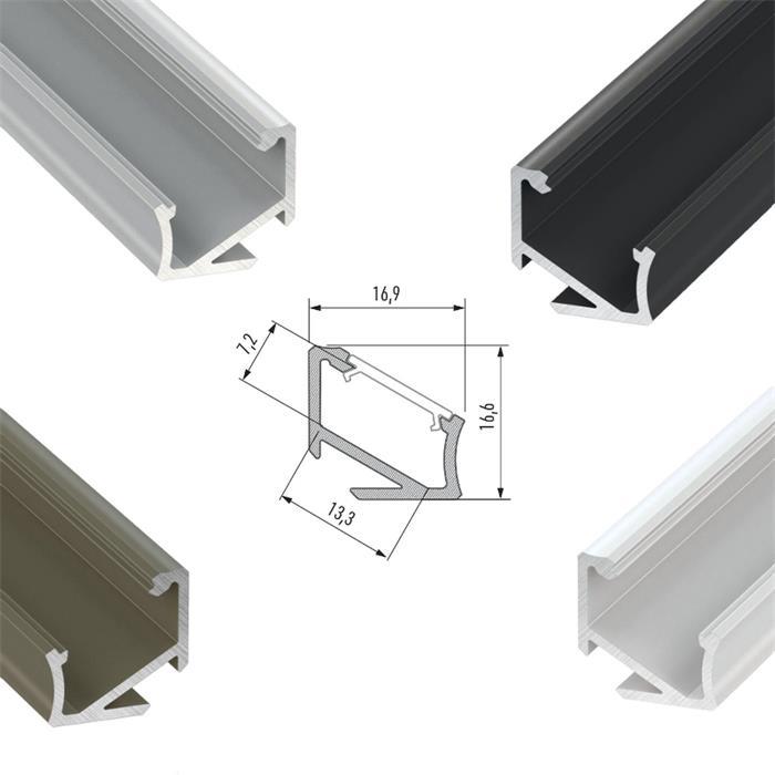 LED-PROFILI-IN-ALLUMINIO-COPERCHI-clip-anellini-ALLUMINIO-ROTAIA miniatura 11