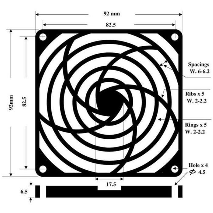 Lüftergitter Staubfilter 92x92mm 30ppi 3-teilig ; Wechselfilter