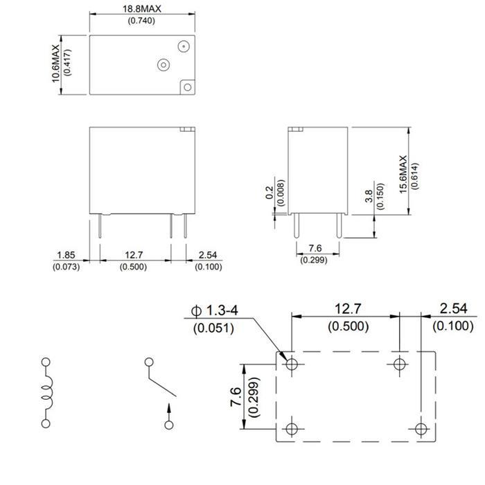 Print Relay 12V Song Chuan 835-1A-B-C E 12VDC 10A 250V Normally open on