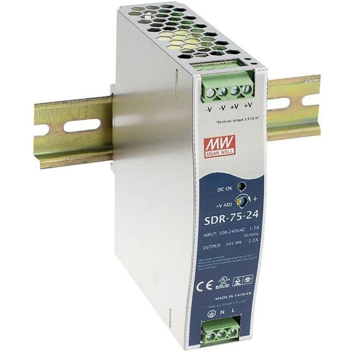 Hutschienen Netzteil 75W 48V 1,6A ; MeanWell SDR-75-48 ; DIN-Rail Trafo