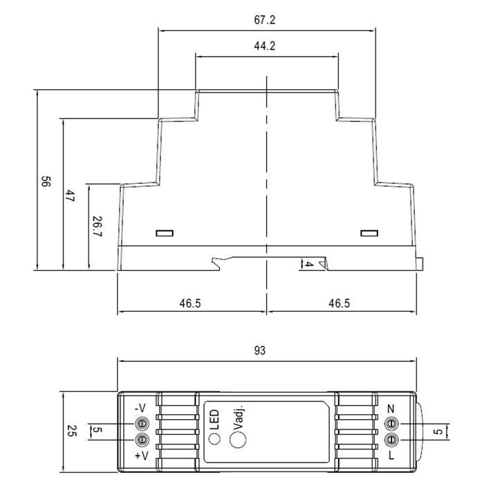 DR-15-12 15W 12V 1,25A Hutschienen Netzteil