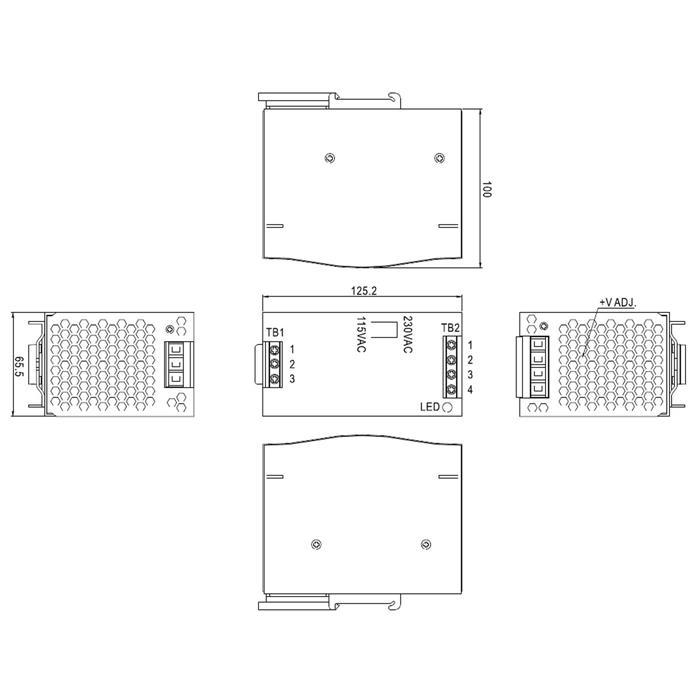 hutschienen netzteil 120w 24v 5a meanwell dr 120 24 hutschienennetzteil. Black Bedroom Furniture Sets. Home Design Ideas