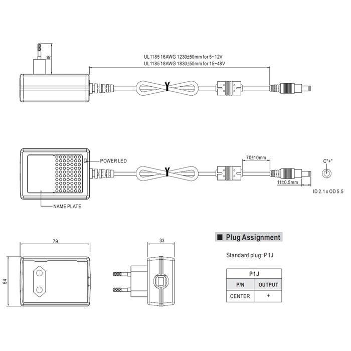 Steckernetzteil 18W 24V 0,75A ; MeanWell GS18E24-P1J ; EU-Plug 5,5/2,1mm