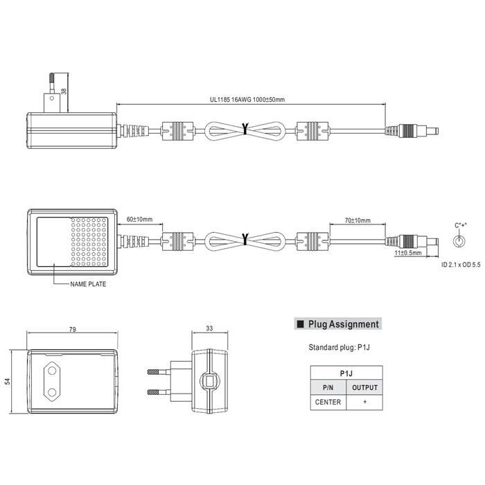 GS36E12-P1J 36W 12V 3A Steckernetzteil Kabel 100cm + DC Stecker (2,1/5,5mm)