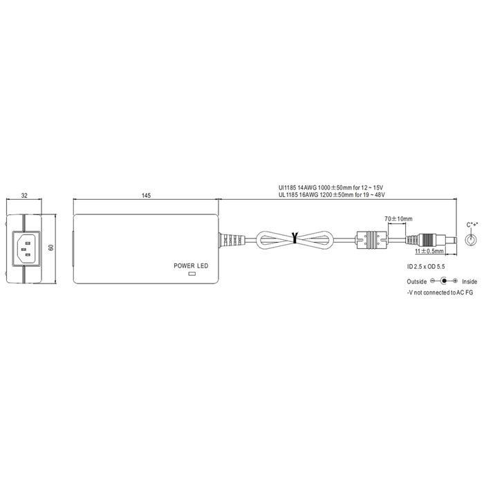 Tischnetzteil 90W 24V 3,75A ; MeanWell GST90A24-P1M ; Trafo Treiber ; 5,5/2,5mm