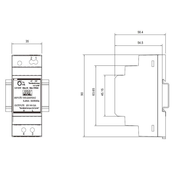 Hutschienen Netzteil 36W 48V 0,75A ; MeanWell HDR-30-48 ; DIN-Rail Trafo