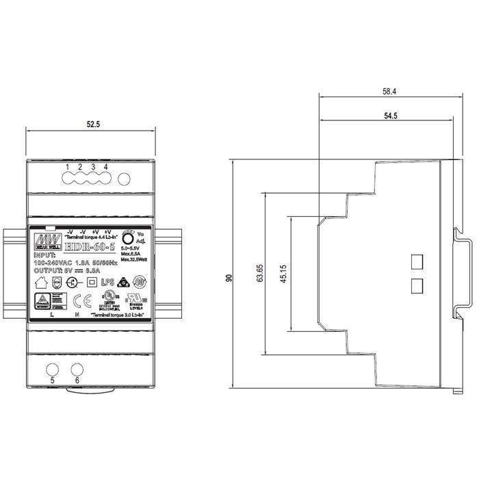 Hutschienen Netzteil 60W 24V 2,5A ; MeanWell HDR-60-24 ; DIN-Rail Trafo