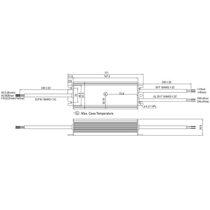 HLG-60H-24B 60W 24V 2,5A LED Netzteil IP67 Dimmbar 0-10V PWM