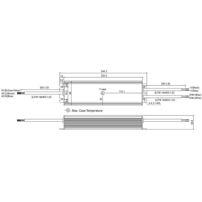LED Netzteil 240W 24V 10A ; MeanWell HLG-240H-24B ; dimmbar 1-10V PWM