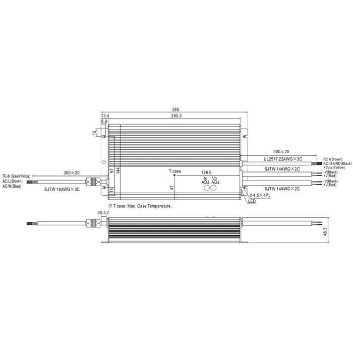 LED Netzteil 600W 48V 12,5A ; MeanWell HLG-600H-48A ; Schaltnetzteil
