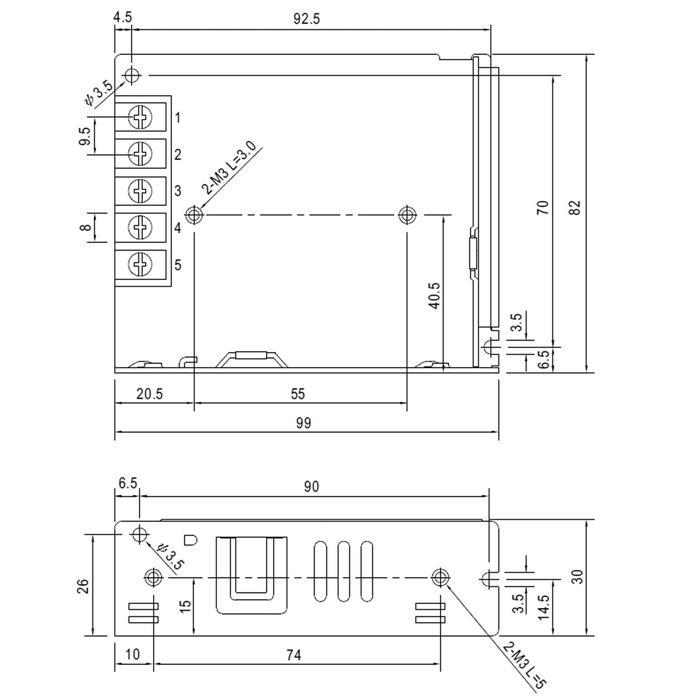 Schaltnetzteil / Netzteil 35W 5V 7A ; MeanWell LRS-35-5 ; Trafo Treiber
