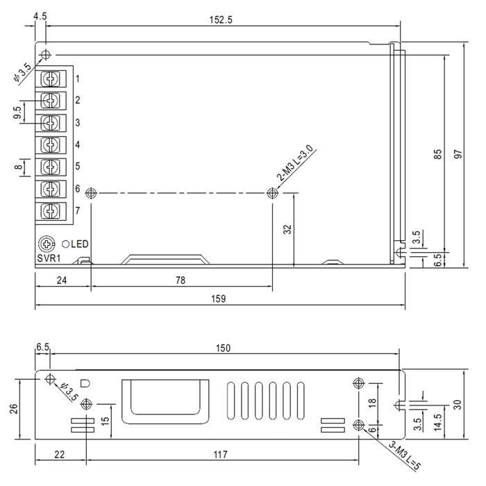 Schaltnetzteil / Netzteil 158W 48V 3,3A ; MeanWell LRS-150-48 ; Trafo Treiber