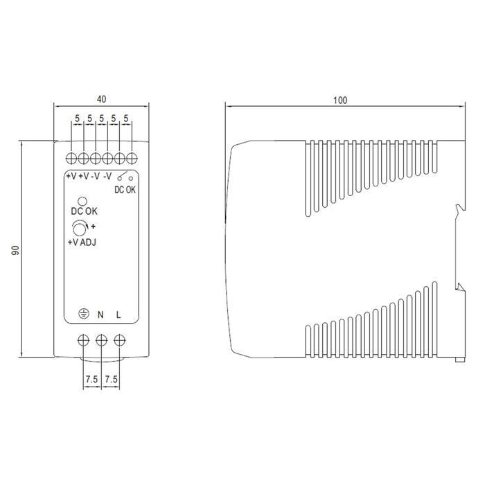 Hutschienen Netzteil 39,8W 48V 0,83A ; MeanWell, MDR-40-48 ; Hutschienennetzteil