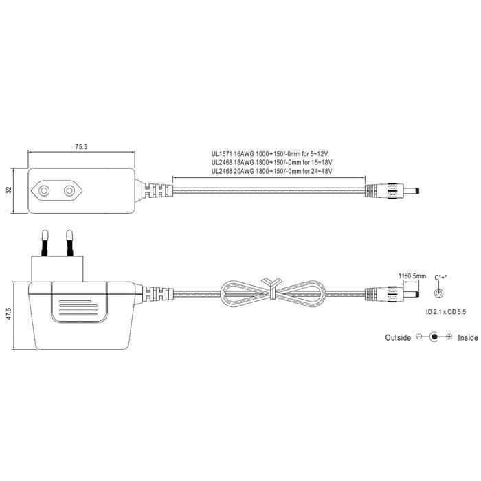 MeanWell SGA25E12-P1J 25W 12V 2,08A Steckernetzteil Kabel 100cm + DC Stecker (2,1/5,5mm)