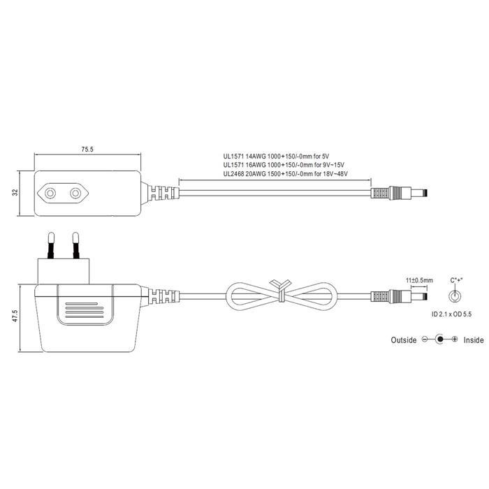 Steckernetzteil schlank 40W 12V 3,33A; MeanWell SGA40E12-P1J ; EU-Plug 5,5/2,1mm